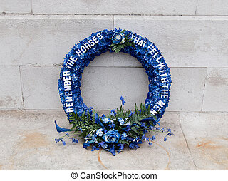 The Cenotaph, London - Laurel wreath to remember the horses...