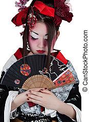 Llevando, mujer, japonés, equipo