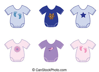 Baby Clothes - Cute baby pink girl and blue boy onesies...