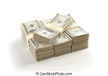 Stacks of One Hundred Dollar Bills Isolated on a White...