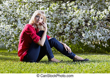 beautiful blonde outdoors - outdoor portrait of beautiful...
