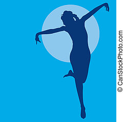 Dancing woman silhouette navy on blue