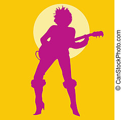 Woman Playing Guitar silhouette purple on yellow