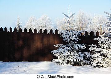 Fairytale fence and trees in the snow - Frosty winter...