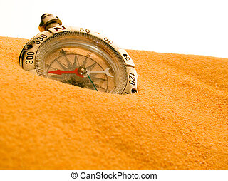 Compass - Compass in sand isolated on white background