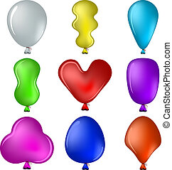 Balloons - Set of isolated on white various balloons all...