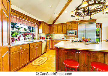 Kitchen with country style and island