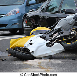 Motorbike accident. - Motorbike accident at an intersection.