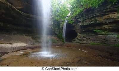 Tonti Canyon - Illinois - Twin waterfalls flow into Tonti...