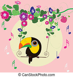 parrot Singing under the  morning glory
