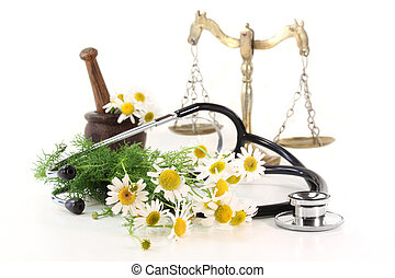 Natural Medicine - Stethoscope on a white background and...