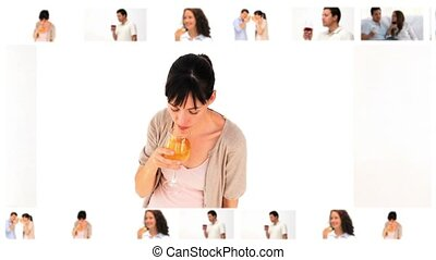 Montage of people drinking wine in a studio