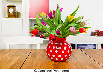 Interior with tulips