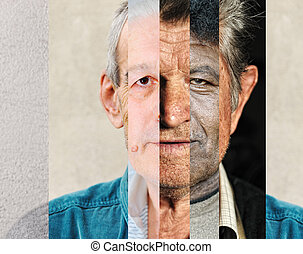 Human male face made of several different people, artistic...