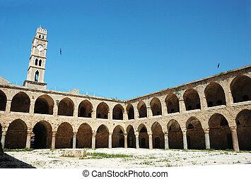 Ottoman landmark building - Khan El-Umdan in Akko, Israel...