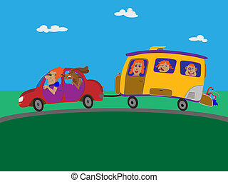 Journey to the sea on a trailer. - Family goes to the sea on...