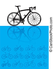 Vector background of bicycles - art, autumn, bicycle,...