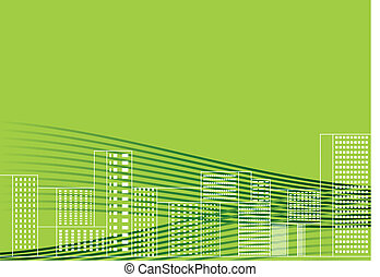 Vector illustration green city  - green city by day