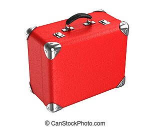 3d red suitcase - 3d red vintage suitcase on white...