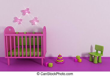 Girls room - 3d Girls room in pink color and toy