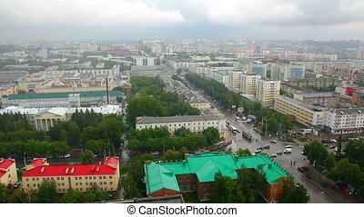 top view on the panorama of city - Ufa Russia timelaose