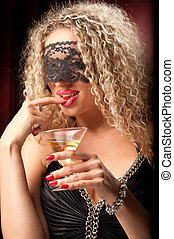 woman with a glass of liquor