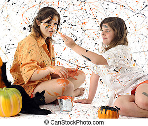 Halloween Splatter Party - A young teen and her preteen...