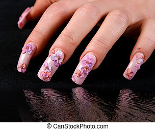 Woman hand with manicure - Beautiful woman hand with...