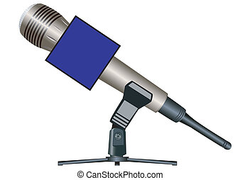 Wireless microphone on a support with a cube