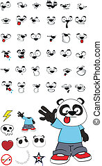 panda kid cartoon set4 - panda kid cartoon set in vector...