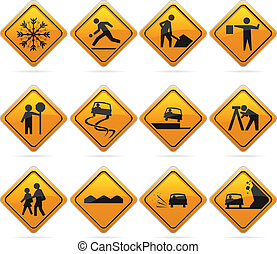 Glossy Diamond Road Signs - 12 glossy driving signs. The...