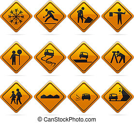 Glossy Diamond Road Signs - 12 glossy driving signs The...