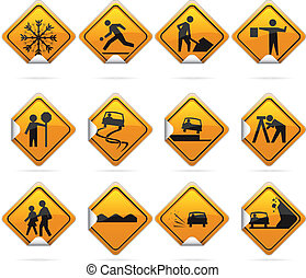 Glossy Diamond Road Stickers - 12 glossy driving signs. The...