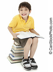 Excited Boy Child with Books - Excited elementary age school...