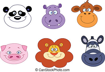 Animal heads - Cartoon animal head collection