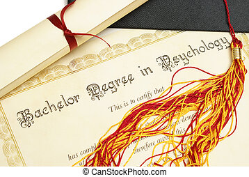 Bachelor of Psychology - A diploma and grad hat represent a...