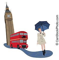 Woman in London - Illustration of Big Ben tower, London bus...