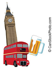 Symbols of London - Illustration of Big Ben tower, London...