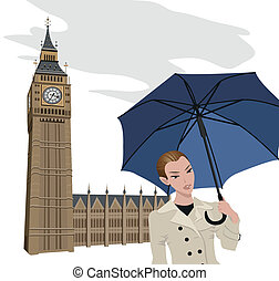 Woman in London - Illustration of Big Ben tower and a woman...