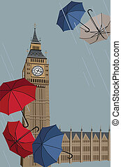 Big Ben and Umbrellas - Illustration of Big Ben tower with...