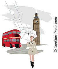 Woman in London - Illustration of Big Ben tower, London...
