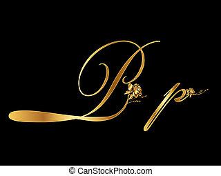 Golden Vector Letter P with roses (collection)
