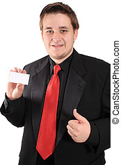 Business card and thumbs up - Businessman holding a blank...