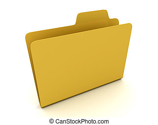 File folder stack on white background. 3D
