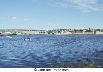 river Tweed estuary at Berwick - river Tweed estuary,...