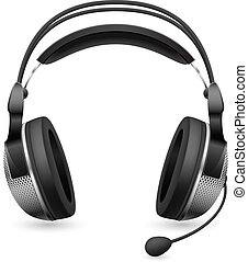 Realistic computer headset with microphone. Illustration on...