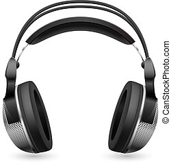 Realistic computer headset. Illustration on white background...