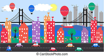 city skyline - a colorful friendly city skyline