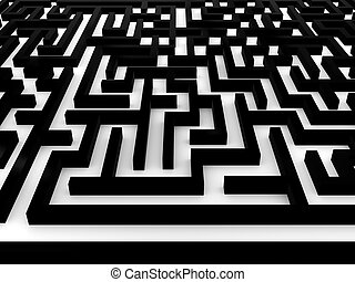 Maze Labyrinth on white background 3D