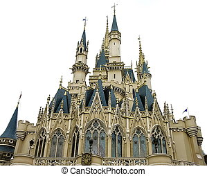 Fairytale castle - Magic fairytale princess castle on white...